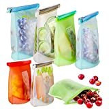 Reusable Silicone Food Storage Bags, 7 Pack Airtight Seal Food Silicone Bag Container for Liquid,Meat,Sandwich,Fruit, Reusable Food Preservation Bag, 2xLarge+2xMedium+3xSmall, Dishwasher Safe