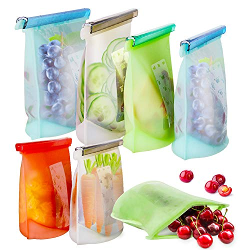 Reusable Silicone Food Storage Bags, 7 Pack Airtight Seal Food Silicone Bag Container for Liquid,Meat,Sanwich,Fruit, Best for Preserving and Cooking, 2xLarge+2xMedium+3xSmall, Dishwasher Safe