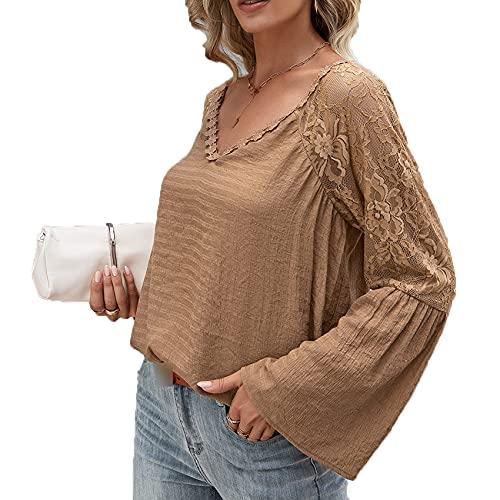 Primavera Y Verano Mujer Casual Hedging Moda con Cuello En V Color SóLido Costura Encaje Hueco SuéTer Suelto De Manga Larga Camiseta Top Mujer