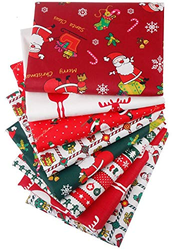 Aubliss 8pcs Fat Quarter Fabric Bundles (100% Cotton - 20in x 20in / 50cm x 50cm) Quilting Cotton Craft Fabric Pre-Cut Squares Sheets for Patchwork Sewing Quilting Crafting(Christmas)