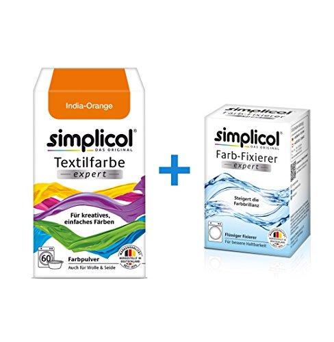 Simplicol Expert + fijador del Color Paquete de Kombi Fabric Dye: Tinte de Coloración para Textiles: Lavado a Mano o Lavadora - Naranja