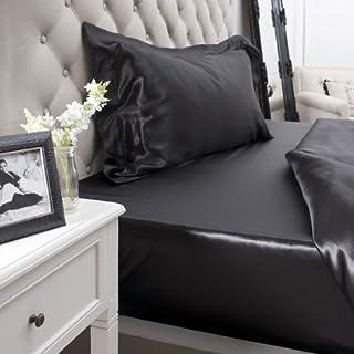 Jasmine Silk 100% Soie Charmeuse Mulberry 19MM Drap Housse (Noir) - Super King 180cm x 200cm + 26cm