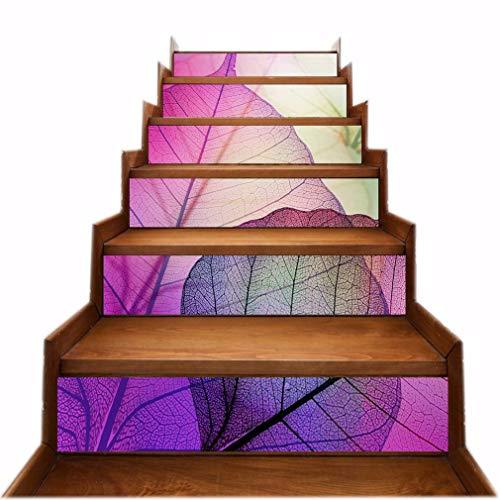 A.Monamour Pegatinas de Escalera Autoadhesivos 3D Acuarela Púrpura Hoja Textura Naturaleza Vinilo Impermeable Pegatinas de Pared Adhesivos Etiquetas Pegatinas de Baldosas DIY 6PCs