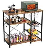 """Kitchen Baker's Rack, Coffee Bar with Wire Basket Microwave Oven Stand Utility Carts Organizer Wine Glass Holder 3-Tier+4-Tier Shelves Kitchen Island Rack with Hooks, 35.5"""",Easy Assembly, Rustic Brown"""
