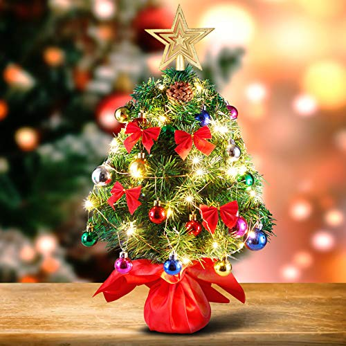 INAROCK Tabletop Mini Christmas Tree, 20 Inch Artificial Christmas Tree with 35 LED String Lights, Pine Cones, Tree Topper Star and Ornaments for DIY Xmas Decoration