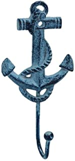 Hampton Nautical  Rustic Dark Blue Whitewashed Decorative Cast Iron Anchor Wall Hook, 7