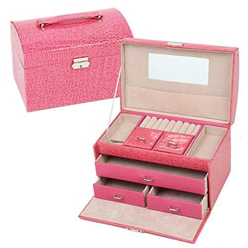Boîte à bijoux en cuir de modèle de crocodile, boîte de rangement de bijoux de collier de boucles d'oreille de 3 couches pour des femmes , rose red , 23.5*15.5*16.5