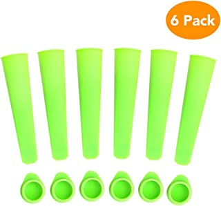 Lashary Popsicle Molds, Durable Silicon Ice Pop Molds, BPA Free, FDA Approved Freeze Pop Mold & Food Grade Material Made Ice Pop Bags, Hand-Held DIY Snow Strip Ice Cream Molds Popsicle with Lid(Green)