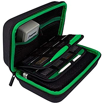 TAKECASE Hard Shell Carrying Case - Compatible with Nintendo 3DS XL and 2DS XL - Fits 16 Game Cards and Wall Charger - Includes Removable Accessories Pouch and Extra Large Stylus Green