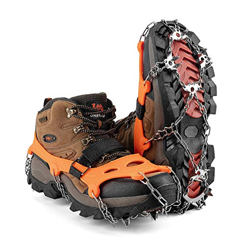 MIRACOL Crampons Ice Cleats 23 Micro Spikes Anti Slip Traction Grips Profect for Ice Fishing Hiking Walking Climbing Jogging Mountaineering(Orange M)