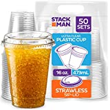16 oz. Clear Cups with Strawless Sip-Lids, [50 Sets] PET Crystal Clear Disposable 16oz Plastic Cups with Lids