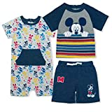 Disney Boy's Mickey Mouse Baby Shorts, Tee and Romper Toddler Clothes Set, Blue, Size 24M