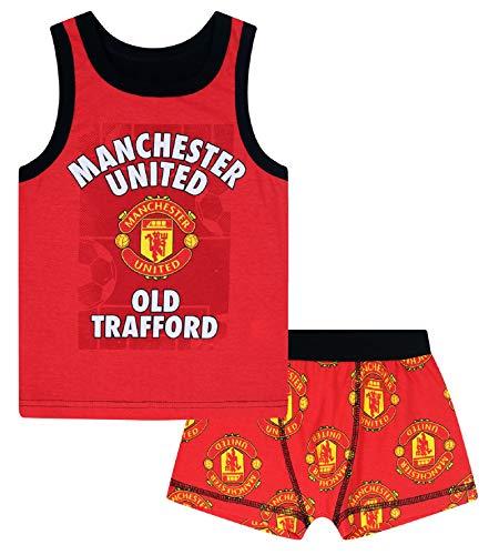 Manchester United FC - Jungen Unterwäsche - Boxershorts & Unterhemd - Offizielles Merchandise - Geschenk für Fußballfans - 10-11Jahre
