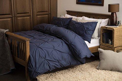 Parure de lit 100 % coton effet smock Bleu marine
