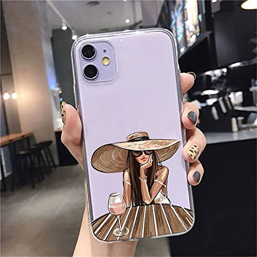 Christmas Princess Girl Female boss coffee Soft Silicone TPU phone Case For iPhone 11Pro MAX SE 5 6 6s 7 8 Plus X XS XR XS,For 7 or 8 or SE2020,style 1