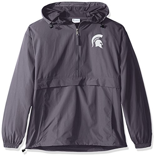 Champion NCAA Mens Half Zip Front Pocket Packable Jacket Michigan State Spartans Medium