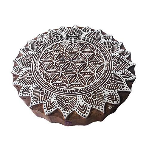 5 Inch Exklusiv Drucken Blöcke Groß Mandala Runden Gestalten Großer Holz Stempel