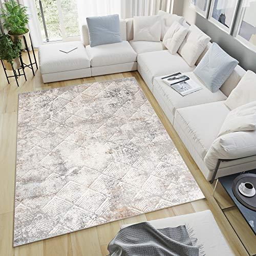 Tapiso Valley Alfombra de Salón Comedor Dormitorio Diseño Moderno Vintage Gris Beige Geométrico Suave 160 x 220 cm