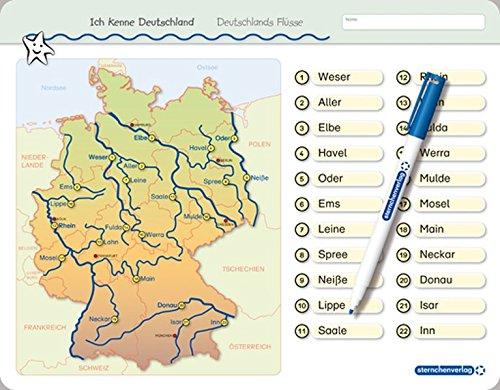 Ich kenne Deutschland - Deutschlands Flüsse: Für die 3. bis 5. Klasse - Stabile wiederbeschreibbare Lernvorlage im großen Format, 32,5 x 25 cm ... ohne zu schmieren und ohne Farbrückstände.