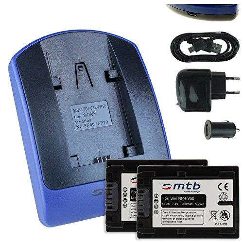 2 Akkus + Ladegerät (Netz+Kfz+USB) für Sony NP-FV50 / DCR-SX65 SX85 / HDR-CX240E CX405./PJ410 PJ620. / FDR-AXP33. / HDR-TD. - s. Liste!