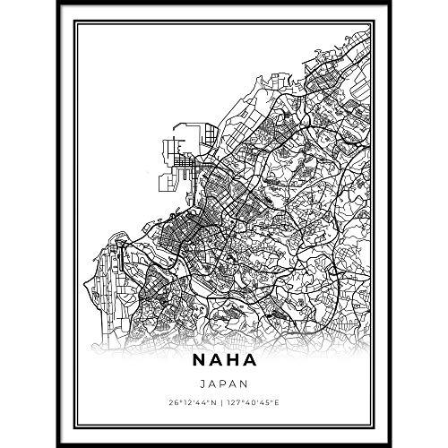 Naha Map Print, Okinawa Japan Map Art Poster, Modern Wall Art, Street Map Artwork 11x14