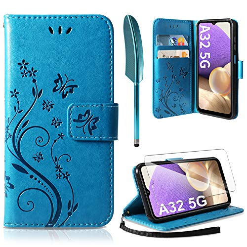 AROYI Cover Compatibile con Samsung Galaxy A32 5G, Retro Design Flip Caso in PU Pelle Premium Portafoglio Slot per Schede Chiusura Magnetica Custodia Compatibile con Samsung Galaxy A32 5G Blu