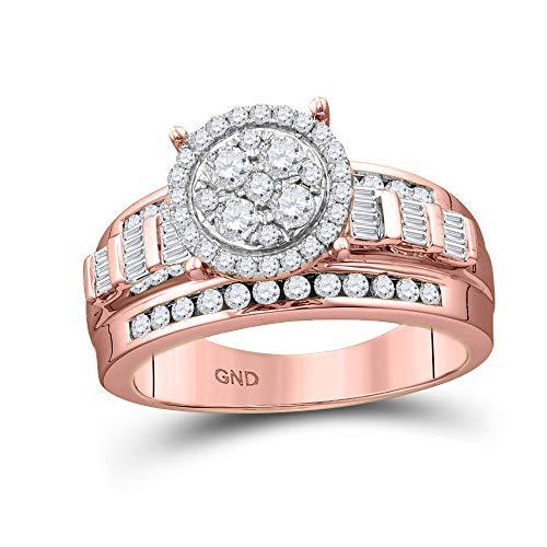 Diamond2Deal Verlobungsring 10 Karat Rotgold, runder Diamant, 1/2 Karat