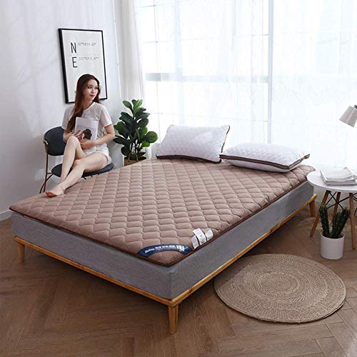 Tatami Thick Mattress, Breathable Soft Folding Sleeping Pad Single Double Japanese Futon Mattress For Camping Living Room (Color : Brown, Size : Queen-150x200cm)