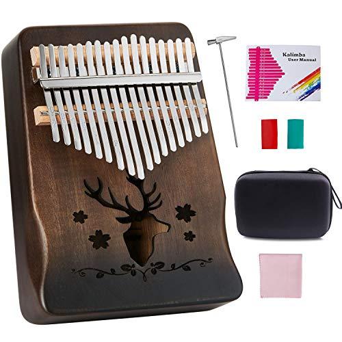 Topnaca Kalimba Thumb Piano 17 Keys Acacia Wood Marimbaphone Instrument with Tuning Hammer Piano Bag Study Manual Christmas Gift for Children Beginner (Schwarz)