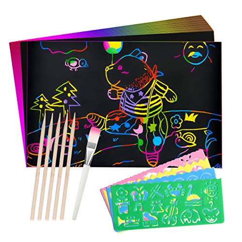 Chenci Kratzbilder für Kinder DIY 50 Blätter Regenbogen Kratzpapier 5 Holzstifte 4 Malwerkzeuge Geschenk für Kinder Geburtstag, Weihnachten, Party(26 * 19CM)