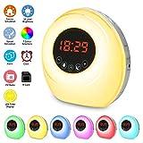 Wake Up Light Despertador Luz, NGOZI LED Despertador Wake Up Clock Amanecer Simulación, Función Snooze, 7 Luces de Colores, 7 Sonidos Naturales, Radio y TF card,Apto para niños y adultos.