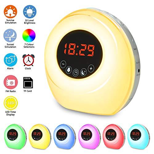 Wake Up Light Despertador Luz, Oxford Street LED Despertador Wake Up Clock Amanecer Simulación, Función Snooze, 7 Luces de Colores, 7 Sonidos Naturales, Radio y TF card,Apto para niños y adultos.