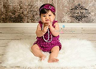 Baby Girl Raspberry Plum Lace Romper Set w Extra Headband, Baby Girl 1st Birthday Outfit, Baby Petti Lace Romper Set
