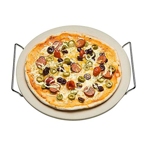 Nonna Piedra para pizza de 30,5 mm de diámetro con estructura de acero inoxidable – Placa de piedra para pizza / placa de horno (11 mm de grosor) para horno y parrilla (BBQ) – hasta 600 grados Celsius