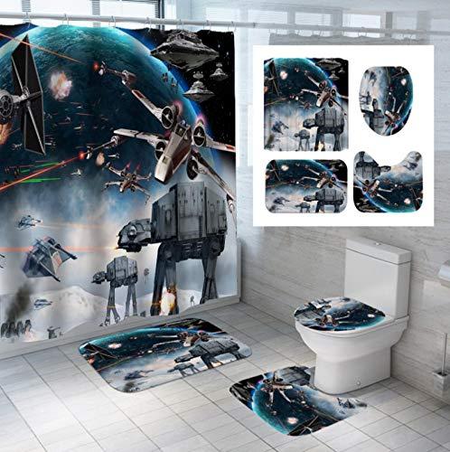 Star Wars Duschvorhang-Set Mit Rutschfestem Teppich, Toilettendeckelabdeckung, Badematte Und 12 Haken, Wasserdichtem Mehltau-Badezimmer