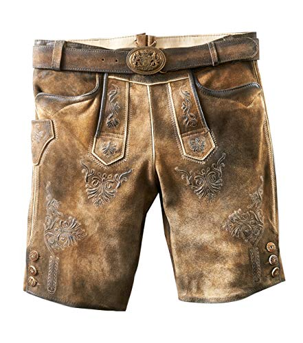 MADDOX Kurze Trachtenlederhose Herren Ammersee Ziller antik, urig und speckig mit Gürtel NEU, Größen Hosen:48