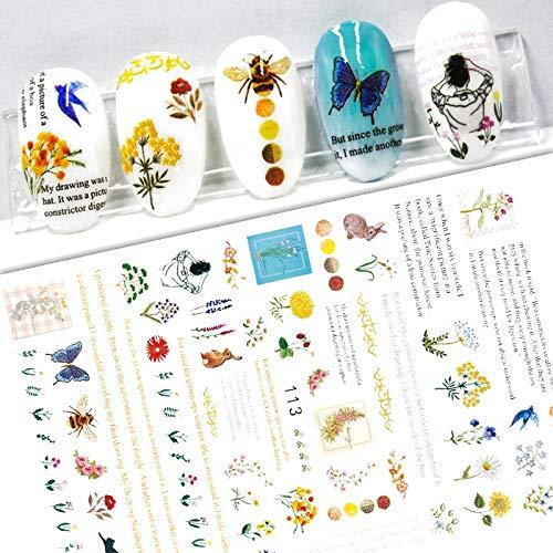 BLOUR Nuevas Pegatinas 3D para uñas, Hoja de Flor, Pegatina para uñas, calcomanías de Papel de Aluminio, Flores Frescas, Decoraciones para decoración de uñas, Accesorios de manicura