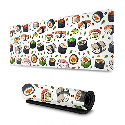 YeeATZ Japan Sushi Gaming Mouse Pad XL, Extended Large Mouse Mat Desk Pad, Stitched Edges Mousepad, Long Non-Slip Rubber Base Mice Pad, 31.5 X 11.8 Inch