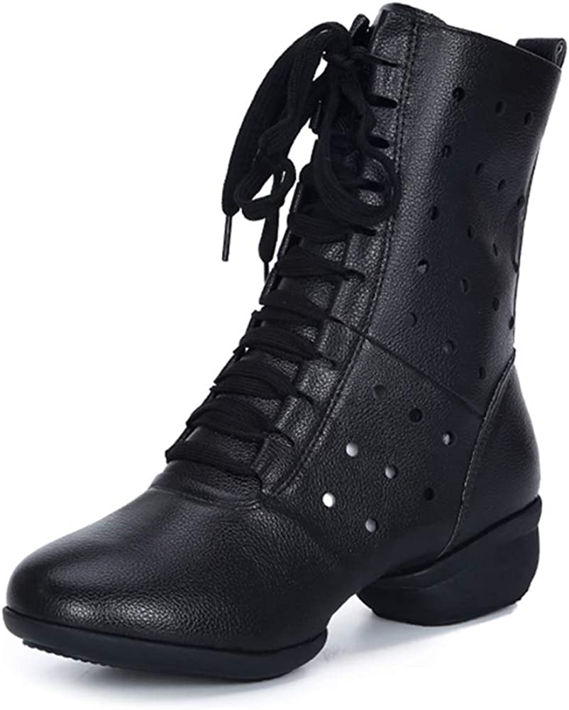 HIPPOSEUS Women's High Top Breathable Soft Modern Dance Shoes Jazz Boots Dance Sneakers with Split Sole