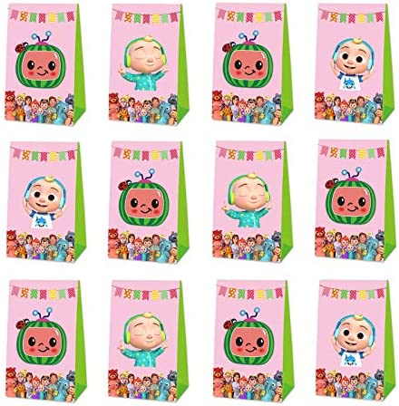 12 Pack Cocomelon Party Bags Cocomelon Party Favors Party Gift Goodie Bags for Cocomelon Party product image