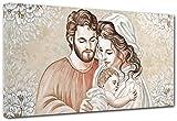 Punto Digital Quadro Capezzale Sacra Famiglia Home cm.120x60 Moderno Intelaiato Stampa su Tela Cotone Telaio in Legno Spessore cm.2
