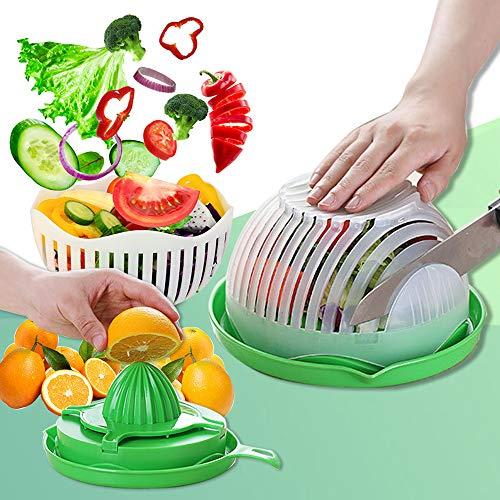 Salad Cutter Bowl Upgraded Easy Speed Salad Maker,Fast Fruit Vegetable Salad Chopper Bowl ,Fresh Salad Slicer ,One People Size,White (green)