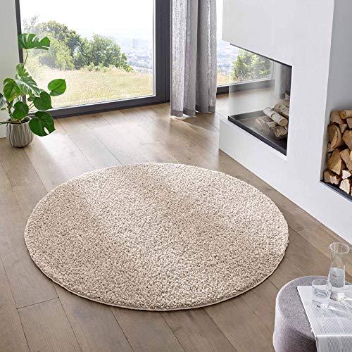 Teppich Wölkchen Shaggy-Teppich | Flauschiger Hochflor für Wohnzimmer, Kinderzimmer oder Flur Läufer | Einfarbig, Schadstoffgeprüft, Allergikergeeignet I Creme - 120 cm rund