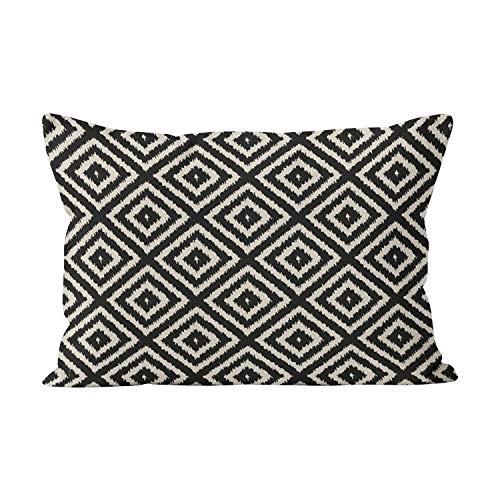 Gygarden Hot Lumbar Ikat Diamond Pattern in Black and Cream Hidden Zipper Home Decorative Rectangle Throw Pillow Cover Cushion Case 12x24 Inch One Side Design Printed Pillowcase