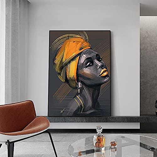 Pintura al óleo de mujer negra africana en la pared lienzo decorativo moderno cuadro de arte de pared cartel de mujer amarilla pintura decorativa 60x90 CM (sin marco)