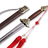 Stainless steel blade: matte color; prevent rust; flexible The blade part is with ridging: the ridging part matches the standard of Tai Chi sword, with the image of ¡QianKun¡¯ on the side; exquisite shape High quality alloy: detailed parts like cross...