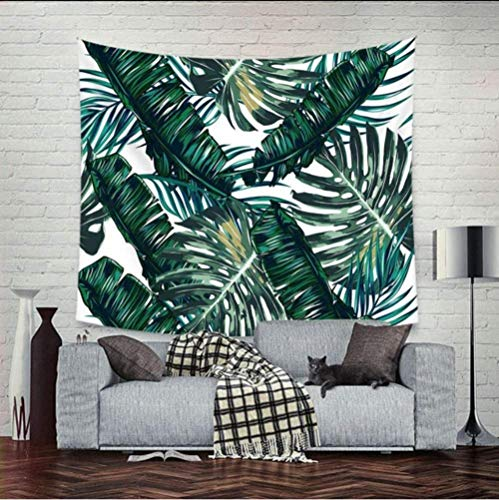 QIAO Plantas Verdes Hojas Joyas Cortinas Mantel Moda Toallas de Playa Atractivas Plantas Tropicales Tapices Tapiz 150X200Cm