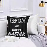 Lilatomer Funda de algodón,45 x 45 cm, Ideales para casa, Pincel Negro Mantenga la Calma y Feliz Pascua Blanca, Oficina o para la Espalda en el Coche Fundas de para sofá con diseños creativos