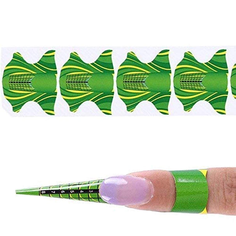 一過性収束フェローシップcoraly ネイルアートツール 1巻500枚 紙製のネイルフォーム 長さだしジェルネイルフォーム プロ用 使い捨て(グリーン)