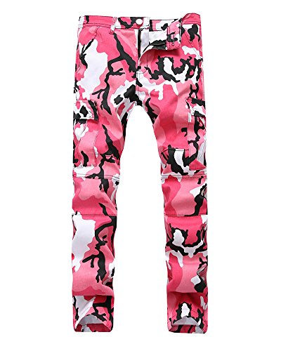 Herren Camouflage Hose Hip Hop Sweatpants Cargo Pants Freizeit Mehrfach Hose Pink 32